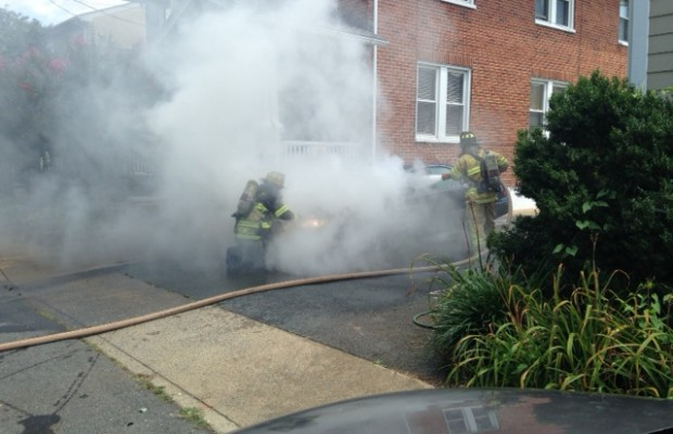 Building Escapes Damage From Car Fire