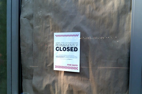Five Guys Abandons Downtown Mall Location